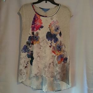 Simply Vera Floral High Low Blouse Top Large